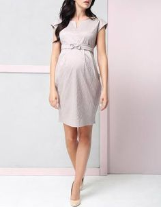 *New* Bone Taupe 9fashion Maternity Fergie Bow Dress (Size Small) - Motherhood Closet - Maternity Consignment