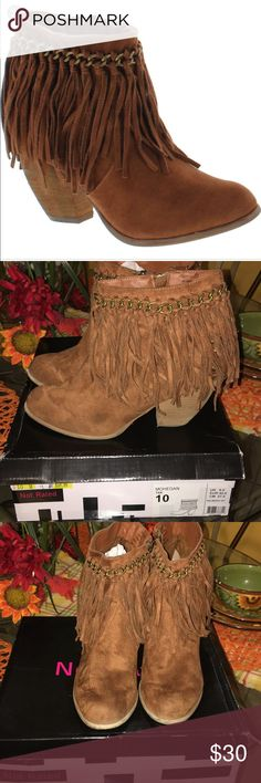 Not Rated Mohegan tan tassel boots Preowned- worn once- given as a gift but were too big- excellent condition Not Rated Shoes Heeled Boots