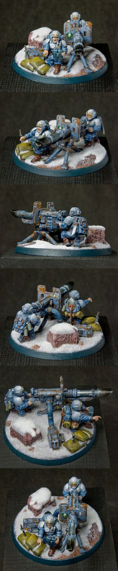 Imperial Guard Weapon Team by Vanxee:  I have this kit. I shall have to to this with it, but maybe with sand instead.