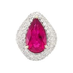 Lot 3373 part of the Fine Jewelry - Beverly Hills Auction at Doyle., one pear-shaped rubellite ap. Diamond Rings For Sale, Jewelry Auctions, Beverly Hills, Round Diamonds, Heart Ring, Fine Jewelry, White Gold, Shapes, Blog