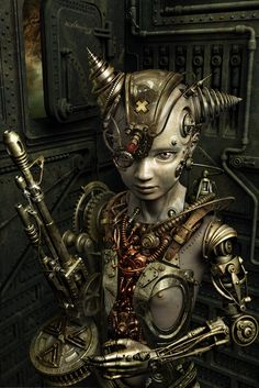 Huge fans of cool Steampunk art Steampunk is genre of science fiction that features steam powered machinery in a industrialized Western setting. Design Steampunk, Robots Steampunk, Steampunk Mode, Chat Steampunk, Arte Steampunk, Steampunk Artwork, Steampunk Fashion, Steampunk Drawing, Gothic Fashion