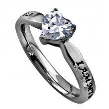 """CZ Heart Ring """"My Beloved"""""""