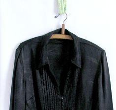 Vintage  Silk Blouse / 70's Black Silk Damask Blouse by vintachi, $22.00
