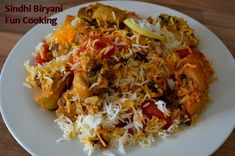 sindhi biryani, unlike other biryani recipes its more yummy and maseledar, and we don't cook tomatoes in gravy that makes it different but taste is really awesome. My family really like it so much and so do i, hope you all like it as well … Rice Dishes, Food Dishes, Fun Cooking, Cooking Recipes, Biryani Chicken, Pakistani Dishes, Chicken And Chips, Chicken Rice Recipes, Biryani Recipe