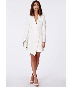 Sancha Long Line Asymmetric Zipped Blazer Dress - Blazers - Missguided