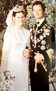 Queen Silvia on the day of her wedding to King Carl XVI Gustav of Sweden wearing the tiara of Empress Josephine, Stockholm, 1976.
