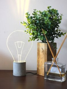 Modern exposed bulb concrete Lamp, Industrial concrete table lamp
