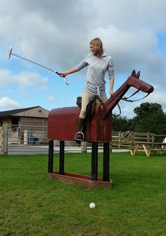 Learning to play Polo on a wooden horse in Chester at JF Polo Academy