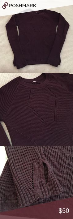 Lululemon The Sweater The Better, Bordeaux, sz 4 Lululemon The Sweater The Better, Bordeaux, sz 4, EUC. No rip tag- armpit to armpit is 16.5 and top to bottom is 24.5. lululemon athletica Sweaters Crew & Scoop Necks