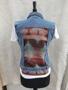Denim vest with  designer fabric back | Shop this product here: http://spreesy.com/lagaersignatures/38 | Shop all of our products at http://spreesy.com/lagaersignatures    | Pinterest selling powered by Spreesy.com