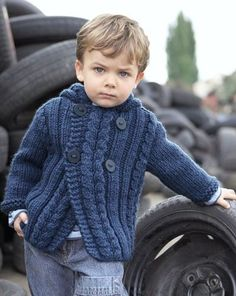 New Ideas For Baby Clothes Knitted Tricot Baby Boy Knitting Patterns, Knitting For Kids, Baby Patterns, Crochet Patterns, Knit Baby Dress, Knitted Baby Clothes, Crochet For Boys, Easy Crochet, Gilet Crochet