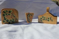 Ivy napkin holder set,salt and pepper and toothpick holders, acrylic painting, ivy painting, hand painted, wooden holders, housewarming gift by WoodnThingsNY12534 on Etsy