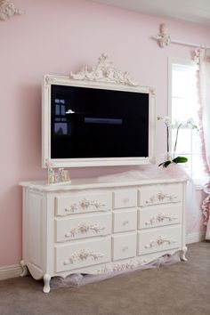 Love picture frames around flat screens The Best of shabby chic in 2017. #shabbychicdressersbrown