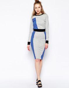 Influence | Influence Color Block Paneled Pencil Skirt at ASOS