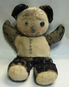 Very Old Vintage Antique Unjointed Teddy Bear Panda -- This one's been loved. A lot.