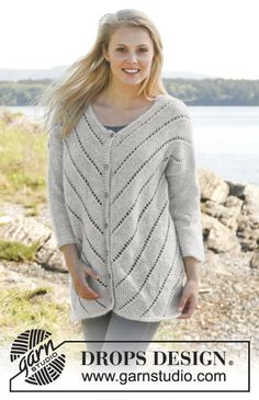 Jacket with #lace pattern and 3/4 sleeves #knit