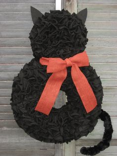 Ready to Ship  The Halloween Cat Fleece Wreath by LushWreathWorks, $75.00