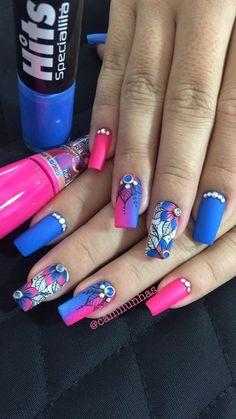 TOP Fotos e Modelos de Unhas Decoradas Trendy Nails, Cute Nails, Romantic Nails, Black Acrylic Nails, Luxury Nails, Flower Nail Art, Beautiful Nail Designs, Bling Nails, Cool Nail Art