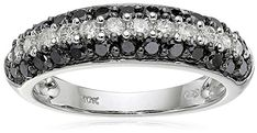 10k White Gold Black and White Diamond Ring (1 cttw, H-I Color, I2-I3 Clarity), Size 8 >>> Want to know more, click on the image.
