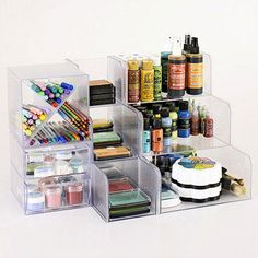 #papercraft #craft supply #organization: Use Modular Storage Cubes to House Inks and Markers