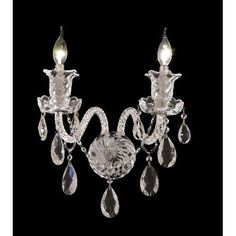 Elizabeth Chrome Two-Light 15-Inch Wall Sconce with Royal Cut Clear Crystal