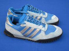 adidas MARATHON Trainer rare retro vintage blue trainers  uk 9 1/2  -  44