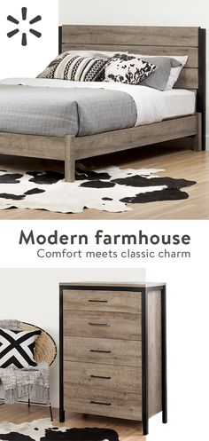 Create your dream decor with this modern farmhouse style from the Munich collection! The rich finish and black accents give it an industrial look that will add some punch to your room. The rich finish and black accents give it an industrial look that will add some punch to your room. Shop the collection today at Walmart.com.