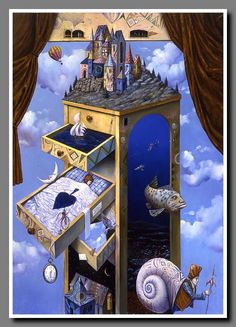 """Multidisciplinary artist Tomek Setowski has his own brand of surrealism known as """"magical realism."""" The Polish painter practices the traditional style of Surrealism Painting, Pop Surrealism, Salvador Dali Kunst, Optical Illusion Paintings, Surreal Artwork, Magical Paintings, Psy Art, Magic Realism, Art Graphique"""
