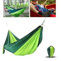 Columpio-Doble-Al-Aire-Libre-Hamaca-Cama-Portatil-paracaidas-Nylon-Tela-verde-negruzco