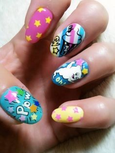 "rumpshaker: "" five star nails "" Pop Art Nails, Fun Nails, Five Star Nails, Chloe Nails, Crazy Nail Art, Kawaii Nails, Nails For Kids, Bright Nails, Fabulous Nails"