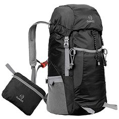 OuterEQ 38L Packable Handy Lightweight Travel Backpack Daypack Water Resistant For Camping  Hiking Black *** For more information, visit image link.