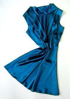 Satin Cocktail Dress ocean blue