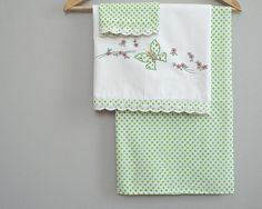 NURSERY bedding, vintage crib sheets, butterfly pillow cover, infant bed sheets, green dots and lace, nursery decoration, baby shower gift