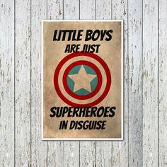 Superhero Kids Poster - Marvel Comics - Gift For Boys - Kids Art Print - Superhero Art Print - Bedroom Decor - Captain America - Superheroes on Etsy, $16.88