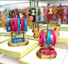 3 pc dog collar display 58.00 + shipping Dog collars not included More
