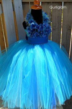 Blue tutu dress Princess dress flower girl dress by gurliglam, $82.00