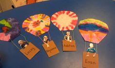 Hot Air Balloon kids- make it a writing activity.