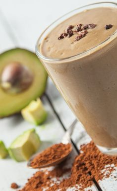 Chocolate Avocado Smoothie  Ingredients 1 serving Vega One Nutritional Shake Chocolate 1 Tbsp cocoa powder 2 tsp maple syrup ½ avocado 1 cup Ice 1.5 cups non-dairy milk (coconut, almond, or hemp) Preparation Add all ingredients to blender. Blend until smooth. Enjoy!