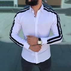 Men Korean Fashion Casual Slim Fit Long Sleeve Shirts Tops Male Autumn Lapel Button Cotton Striped Shirts – Men's style, accessories, mens fashion trends 2020 Paar Workout, Long Sleeve Shirt Dress, Long Sleeve Shirts, Yoga Mode, Mens Designer Shirts, Korean Fashion Casual, Slim Fit Dress Shirts, Stylish Shirts, Mode Style