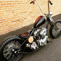 Harley Davidson Shovelhead chopper with chainside rear brake Custom Bobber, Custom Choppers, Custom Harleys, Custom Bikes, Custom Motorcycles, Custom Cars, Custom Baggers, Indian Motorcycles, Vintage Motorcycles