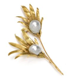 A baroque cultured pearl flower brooch, Buccellati