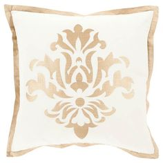 Add a stylish touch to your sofa or settee with this chic pillow, showcasing a geometric motif in ivory.  Product: Pillow