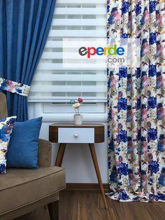 Mavi Çiçekli Fon Perde Lacost Kombinli - İki Kanat Siparişlerinizde 1 Kanat Düz 1 Kanat Desenli Gönderilir.