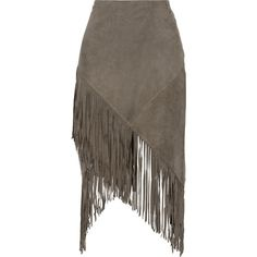 W118 by Walter Baker Eliza fringed suede skirt (935 ILS) ❤ liked on Polyvore featuring skirts, mushroom, calf length skirts, suede skirt, fringe skirt, midi skirt i brown midi skirt
