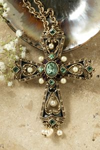 Victoria Pearls & Emerald Crystals Cross Pendant $80.00 http://www.celebrateyourfaith.com/Victoria-Pearls--Emerald-Crystals-Cross-Pendant-P403C852.cfm