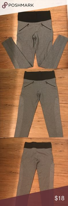 """Zara Leggings size S Gray Zara Leggings with front zippers and black waist band. Size S. Measures 13"""" across the waist and 26.5"""" inseam. Great condition! Zara Pants Leggings"""