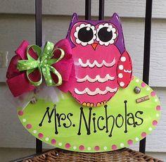 Owl teacher name door hanger by Angelascreativecraft on Etsy
