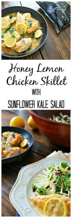 Honey Lemon Chicken Skillet: One skillet and a few ingredients you are left with a perfectly glazed chicken that is moist, tender and bursting with flavor. Pair with an Eat Smart Gourmet Salad Kit in Sunflower Kale, and you are left with an easy, restaurant quality meal. Paleo. Gluten Free.