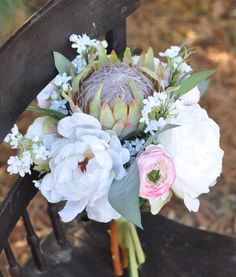 King Protea, Ranunculus and Peony, Artificial Flower Bouquet by Holly's Wedding Flowers.