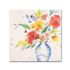 This ready to hang, gallery-wrapped art piece features watercolor flowers. Sheila Golden grew up in New York, attending the School of Visual Arts and the New School of the Social Reserach in New York